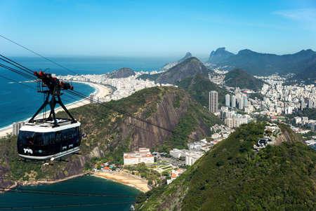 pao: Rio De Janeiro, Brazil  - September 9, 2013:  View of the city with Copacabana beach from the Pao De Acucar (Sugarloaf Mountain) Editorial