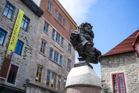 Quebec city, Canada - May 5, 2014: The old town,the Louis XIV bust in Royal square