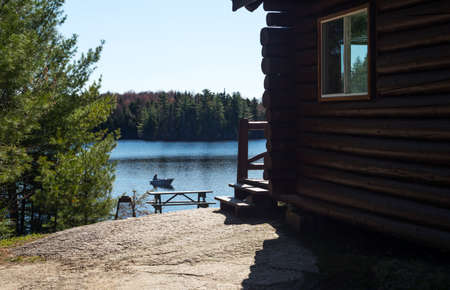 vacance: Mauricie,  Canada - May 12, 2014: Quebec, national park, a fishermen boat on the Vacance lake