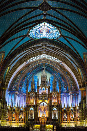 insides: Quebec, Montreal, the full of colors insides of the Notre Dame cathedral Editorial