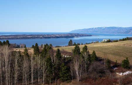 Quebec, Baie Saint Paul, fields,farms iand the St Lorenzo river