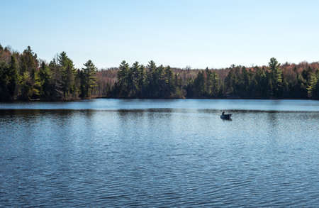 vacance: Quebec, Mauricie national park, a fishermen boat on the Vacance lake Stock Photo