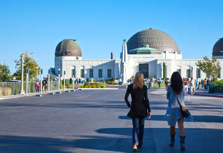 griffith: Los Angeles,  U.S.A. -  May 31, 2011: People in  the Griffith Observatory square Editorial