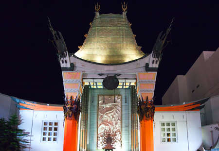 night viev: Los Angeles,  U.S.A. -  May 31, 2011: Hollywood, night viev of the Graumans Chinese Theatre Editorial