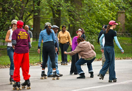 skaters: New York, U.S.A. - October 3, 20010:    Manhattan, skaters meeting in Central Park Editorial