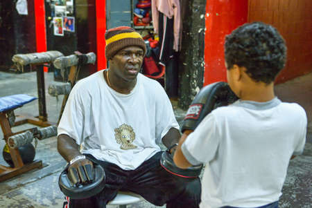 boxer shorts: New York, U.S.A. - October 7, 20010:  Brooklyn,  people and athlets in the Gleason Gym Editorial