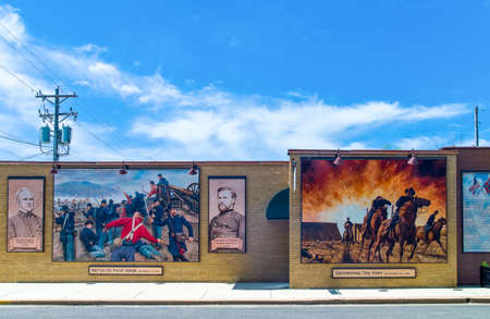 famous paintings: Cuba, U.S.A. - May 18, 2011: Missouri, Route 66,  famous mural paintings in the city roads Editorial