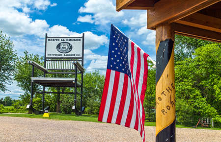 outpost: U.S.A. Missouri, Route 66, Fanning, the giant Rocking Chair of the Outpost restaurant and shop