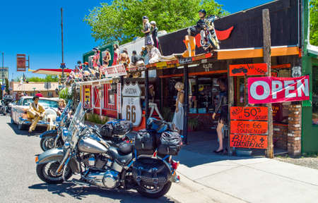 manequin: Seligman, U.S.A. - May 25, 2011: Arizona,  motorcycles and vintage  stores on the Route 66 Editorial