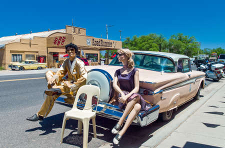 dummies: Seligman, U.S.A. - May 25, 2011: Arizona, vintage dummies and car on the Route 66