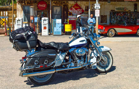 general store: Hackberry, U.S.A. May 25, 2011: Arizona, a motorcycle in  the General Store on the Route 66