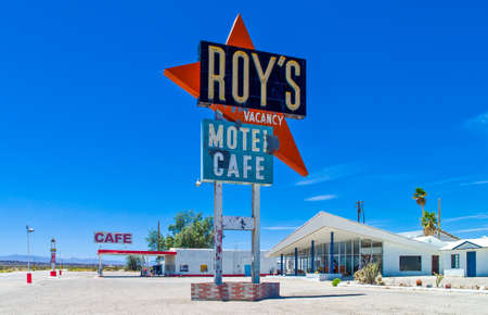 Amboy, U.S.A. - May 27, 2011: California, the vintage Roys motel and cafe on the Route 66