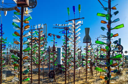 Helendale, U.S.A. - May 28, 2011: California, the Bottle Tree Ranch on the Route 66