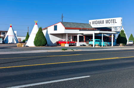 tepee: Hilbrook, U.S.A. - May 24, 2011: Arizona, the famous Wingwam Hotel on the Route 66