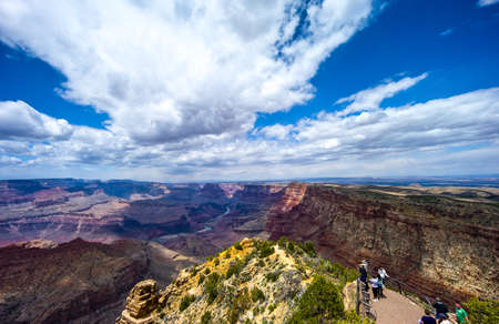 south rim: Grand Canyon, USA, - May 24, 2011: Tourists in the Grand Canyon South Rim Editorial