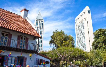 sea seaport: San Diego,  U.S.A. - June 2,  2011: The city tower seen from the Seaport village Editorial