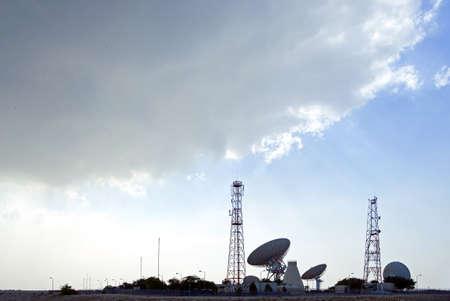 antena parabolica: Askar, Bahrain - December 14, 2006: The satellite dish of the Balteco Station.