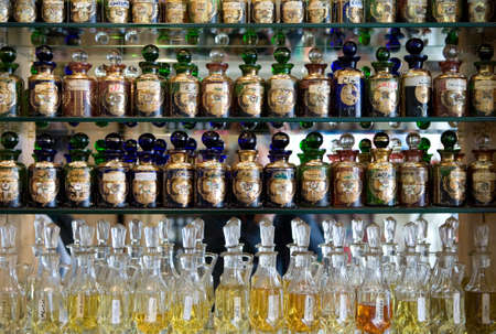 Manama, Bahrain - January 8, 2007: A perfumery in the old market. Publikacyjne