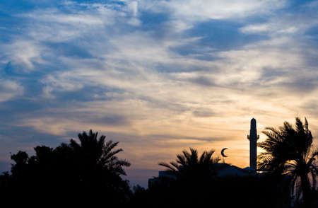bahrain: Bahrain, Manama, sunset view of a minaret of the city Stock Photo