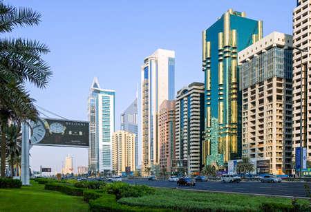 sheik: Dubai, U.A.E. - November 15, 2006:  The architectures of the business area of the  Sheik Zaied Road. Editorial