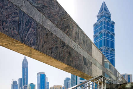 sheik: Dubai, U.A.E. - February 18,  2007: The architectures of the business area of the  Sheik Zaied Road.