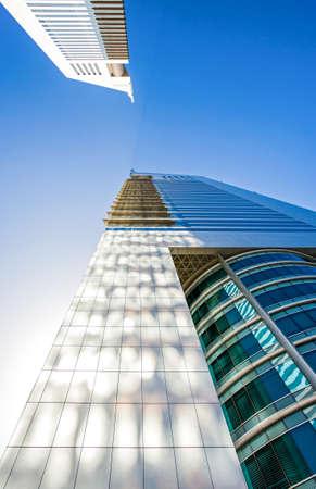 sheik: Dubai, U.A.E. - February 18,  2007: The architectures of the business area of the  Sheik Zaied Road. The Emirates Towers