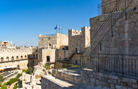 citadel: Jerusalem,  Israel - November 2, 2010: Visitors between  the ruins of the Citadel