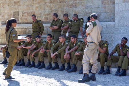 jewish quarter: Jerusalem,  Israel - November 2, 2010: Soldiers in the Jewish quarter
