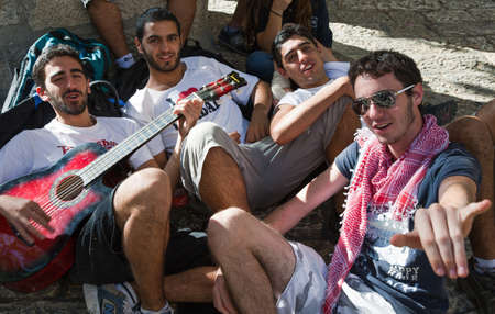 israel people: Jerusalem,  Israel - November 2, 2010: Young people in the Jewish quarter Editorial