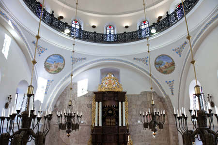 hurva: Jerusalem,  Israel - November 2, 2010: The Hurva synagogueinside