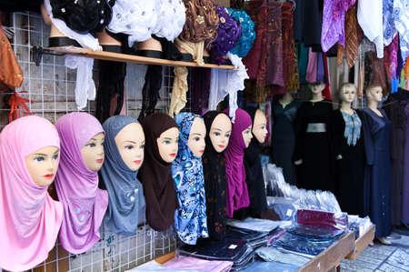manequin: Jerusalem,  Israel - November 3, 2010:  Dummies in a market in the Arab quarter