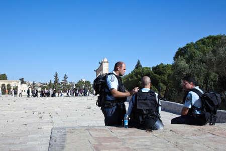 temple mount: Jerusalem,  Israel - November 4, 2010:  Palestinian policemen at the Temple Mount (Har Habait)