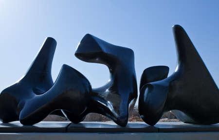 israel museum: Jerusalem,  Israel - November 4, 2010:  The Three piece sculpture by Henry Moore in the Israel Museum