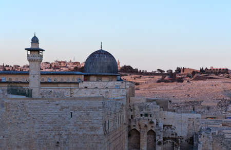 israel jerusalem: Israel, Jerusalem,view of the Al-Aqsa mosque after the sunset Stock Photo