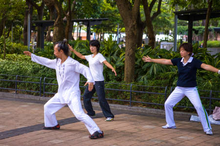 victoria park: Hong Kong, China - September 27,  2007: A Tai Chi training in the Victoria park