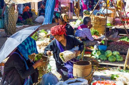 street market: Inla Lake.  Myanmar, - January 14, 2012: Shan State, local people in the street market Editorial