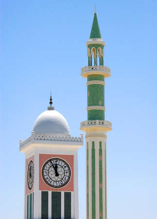 qatar: Qatar, Doha, the Clock Towe and a minaretr in the old city center, Editorial