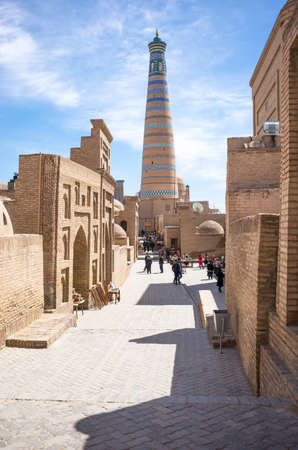 minaret: Khiva, Uzbekistan - Aprilr 14, 2014:  The Islam Kodija minaret in the old city center Editorial