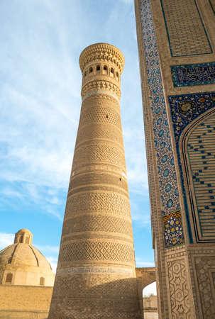 uzbekistan: Uzbekistan, Bukhara, detail of the Kalon minaret and mosque Editorial