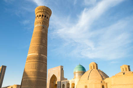 minaret: Uzbekistan, Bukhara, the Kalon minaret and the Mir-i-Arab madrassah in the background