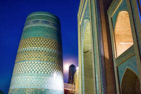 minor: Uzbekistan, Khiva, night view of the Kalta Minor minaret at Muhammad Amin Khan Madrassah