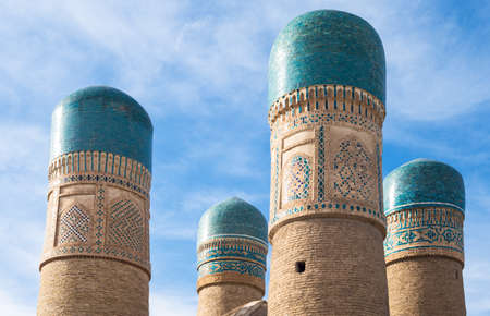 minarets: Uzbekistan, Bukhara, the Char Minar (four minarets) mosque and madrassah Editorial