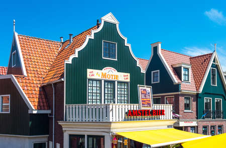 volendam: Volendam, Holland - July 24, 2014: Waterland district, typical houses and shops of the town center