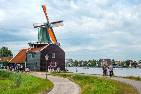 zaandam: Zaandam, Holland - July 25, 2014: Waterland district, tourists in the famous area of the mills