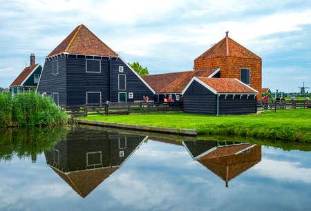 zaandam: Zaandam, Holland - July 25, 2014: Waterland district, typical country houses Editorial