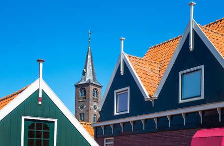 volendam: Holland, Waterland district, Volendam, typical houses of the town center Editorial