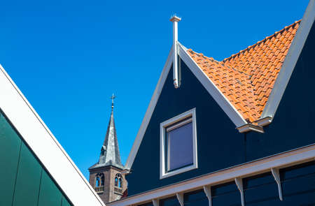 typical: Holland, Waterland district, Volendam, typical houses of the town center Editorial