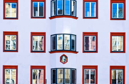 innsbruck: Innsbruck, Austria - February 8, 2010: Detail of the traditional architecture of Maria Theresien strasse Editorial