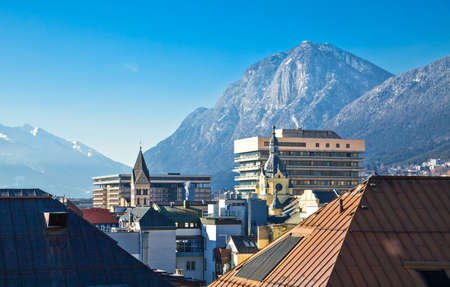 tyrol: Austria, Tyrol, panoramic wiew over Innsbruck Stock Photo