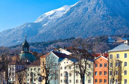innsbruck: Austria, Tyrol, Innsbruck, the Mariahilf strasse colored houses on the Inn river Editorial